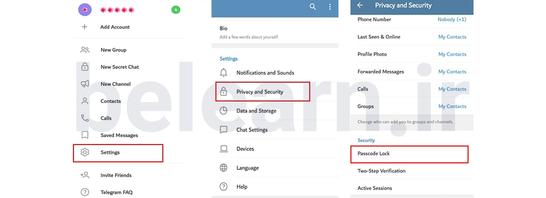 رمز گذاری روی برنامه تلگرام | بی لرن