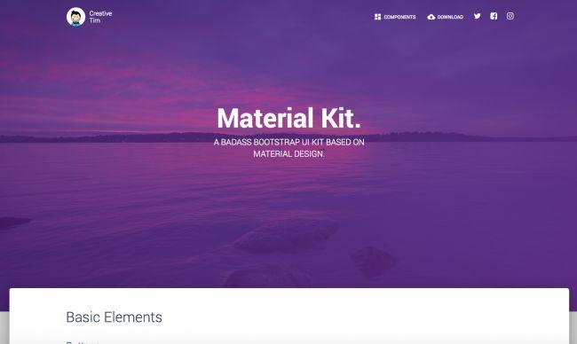 Material Kit - نمونه قالب سایت طراحی شده با بوت استرپ | بی لرن